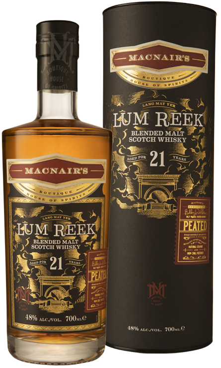 MacNair's Lum Reek Blended Malt Scotch Whisky - 21 year old - 21yo - bottle & tube